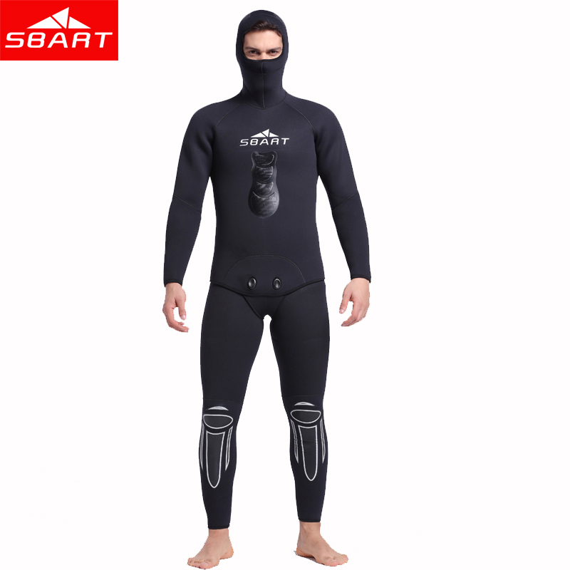 SBART 5mm Neoprene Hooded Wetsuit Two-Piece Warm Suit Swimwear For Scuba Diving Equipment Spearfishing Snorkeling Wet Suits J spearfishing wetsuit 3mm neoprene scuba diving suit snorkeling suit triathlon waterproof keep warm anti uv fishing surf wetsuits
