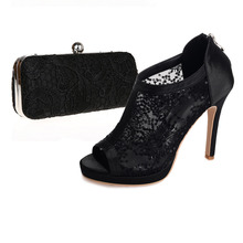 Black open toe lady lace pumps sandal boots see through shoes with matching lace clutch bag handbag for any event elegant outfit