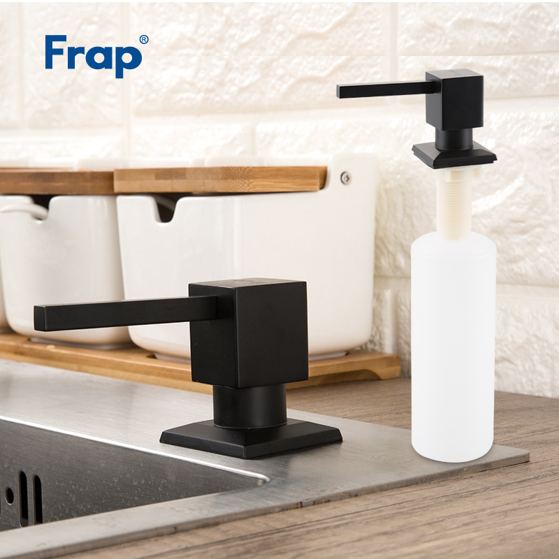 FRAP Liquid Soap Dispenser Black Stainless Steel Deck Mounted Kitchen Soap Dispensers Square Counter Top Dispenser Y35030