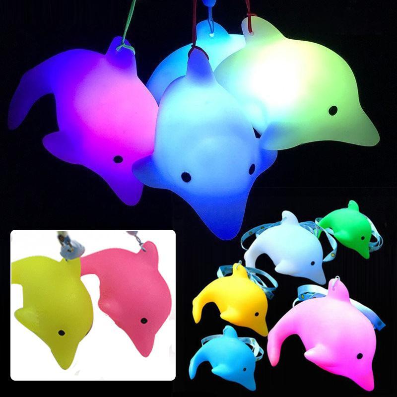 Colorful LED Dolphin Toy Luminous Funny Gadgets Light Flashing Fish Waterproof Anti-sweat White Pink Green Blue Yellow