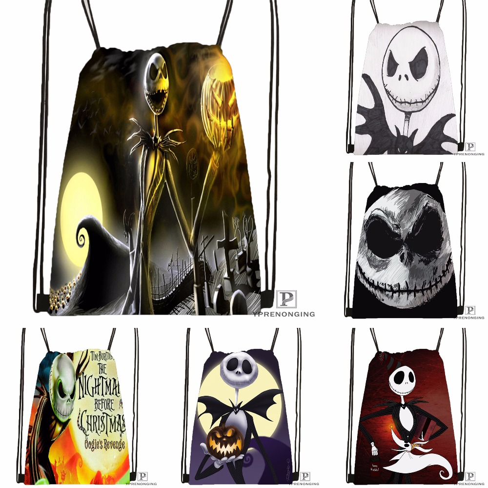 Custom The Nightmare Before Christmas Drawstring Backpack Bag Cute Daypack Kids Satchel Black Back 31x40cm 180531