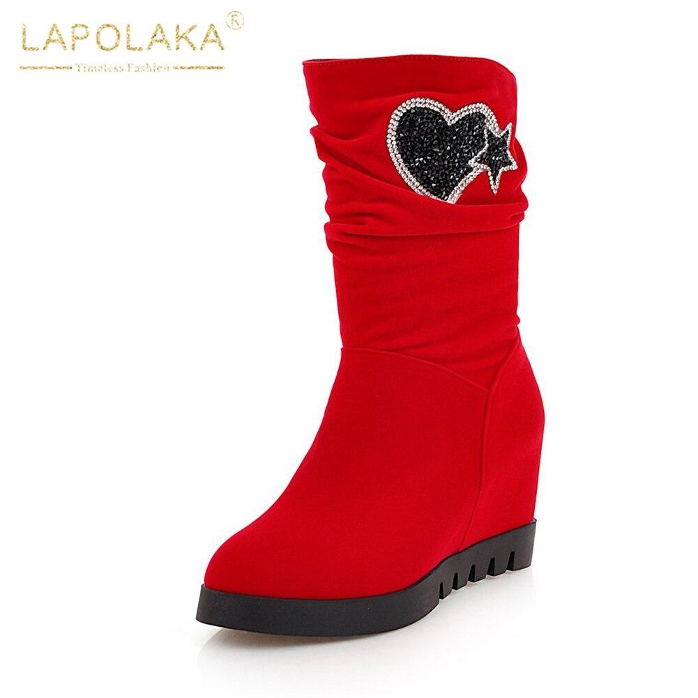 9fe067248e8 Platform 44 Media Slip En De 33 Talla Invierno Lapolaka Pantorrilla Escuela  On azul 2018 Zapatos Tacón Botas rojo Mujer Grande Aumento Negro wnXqIWW0T
