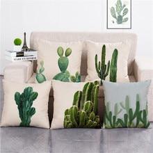 KYYZROZZZ green plant cactus pillow cover case cotton linen cushion cover for sofa home decor capa de almofadas 45x45cm