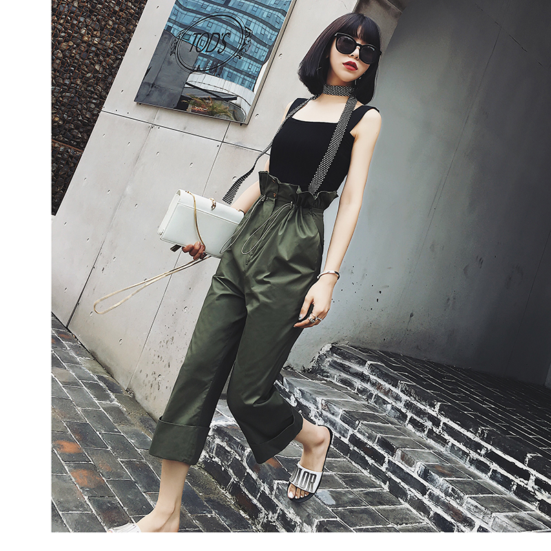 Spring womens high waist casual straight harem pants loose cardigan trousers sweat pants retro carrot solid color sweatpants