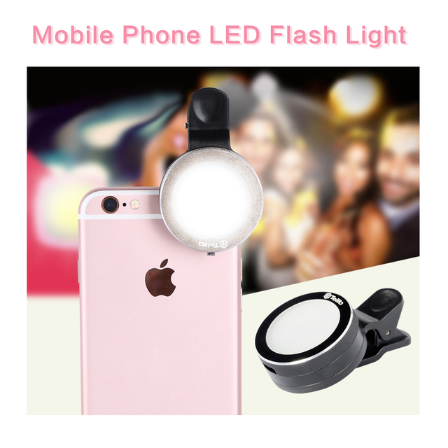 Mobile Phone LED Flash Light Beauty Selfie Ring light with 6 LED Adjustable Fill light Phone Holder for iPhone Samsung xiaomi