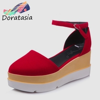fccce9038 DORATASIA Brand Design Big Size 32 43 Flat Platform Ankle Strap Shoes Woman  Casual Party Retro