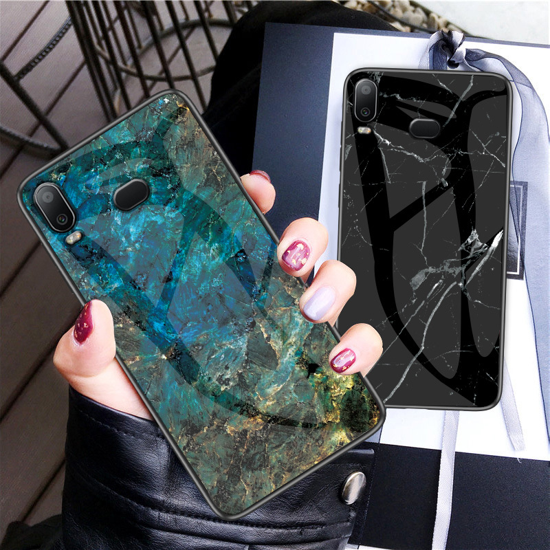 Phone Case for <font><b>Samsung</b></font> Galaxy A6S Marble Tempered Glass Back Cover Silicone 360 Soft Edge for <font><b>samsung</b></font> galaxy <font><b>a8s</b></font> sm-g6200 <font><b>g8870</b></font> image