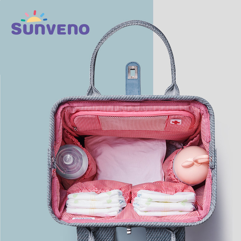 SUNVENO 2019 New Diaper Bag Backpack Large Capacity Waterproof Nappy Bag Kits Mummy Maternity Travel Backpack