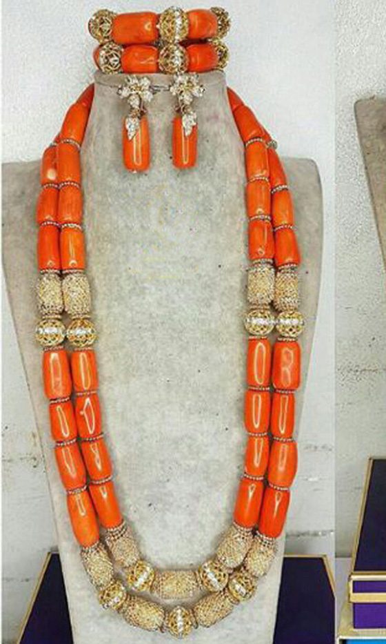 HTB1wXbNX0fvK1RjSspfq6zzXFXaT Long Style Coral and Dubai Gold African Beads Necklace Jewelry Set Real Coral Beads Necklace Set New Bridal Jewelry Sets CG022