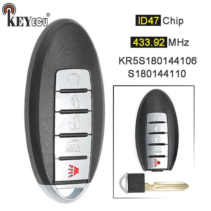 KEYECU 433.92MHz FCC ID: KR5S180144106 S180144110 remplacement Smart télécommande voiture clé Fob 5 bouton pour Nissan Rogue 2017 2018