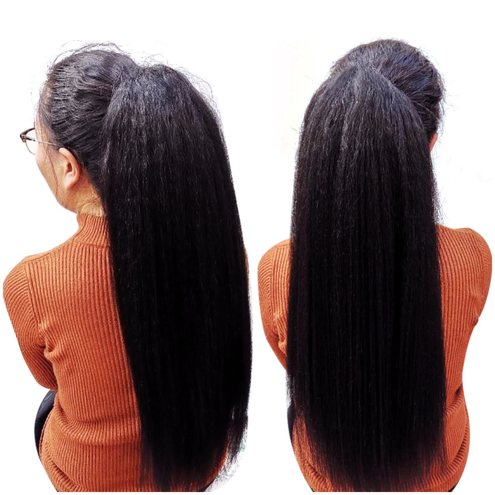 "HTB1wXbOXsfrK1RkSnb4q6xHRFXaT - Lydia Heat Resistant Synthetic 16""-24"" Kinky Straight Hair With Plastic Combs Drawstring Ponytail Extension All Colors Available"