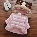 Warm Winter Baby Infant Girl Children Kids Fur Hooded Ball Thicken Down-Cotton Snow Wear Jacket Outwear Parkas Coat Casaco S4256