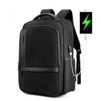Business Men S Backpack Black USB Charging Anti Theft Travel Laptop Backpack 15 6 Inch Male
