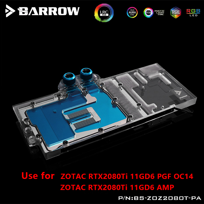 BARROW Water Block use for ZOTAC RTX2080Ti 11GD6 AMP PGF Extreme OC14 Support Original Backplate 5V