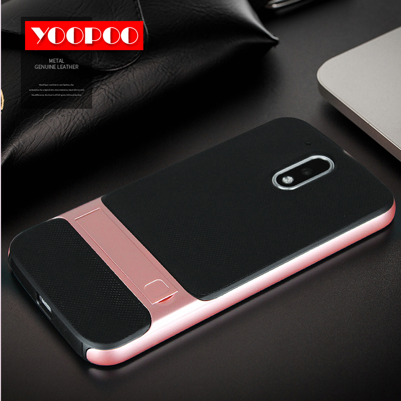 For Motorola Moto G4 Plus Phone Case Shock-proof Hybrid Rugged PC Stent + Soft Check Silicone TPU Back Cover for Moto G4 Case