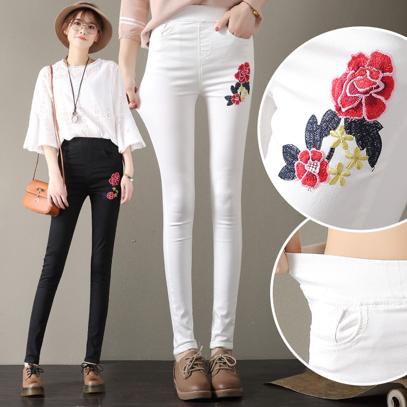 Plus Size S-4XL Spring Fall Casual Women Pencil Jeans High Waist Flower Embroidered Fashion Women Elasticity Denim Pants L1094 2017 new jeans women spring pants high waist thin slim elastic waist pencil pants fashion denim trousers 3 color plus size