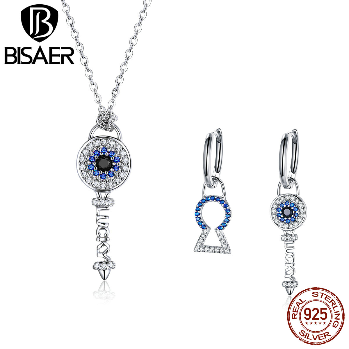 Jewelry-Sets Eye-Crystal-Lock Gifts 925-Sterling-Silver Fashion Women Blue And BISAER