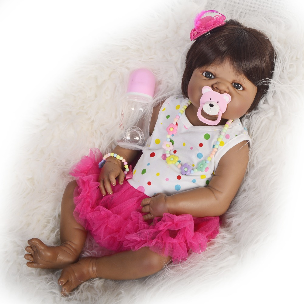 Silicone Reborn Baby Doll Toy smooth black skin Princess Toddler Babies Like Alive Bebe Girls Brinquedos 55cm DOLLMAI CollectionSilicone Reborn Baby Doll Toy smooth black skin Princess Toddler Babies Like Alive Bebe Girls Brinquedos 55cm DOLLMAI Collection