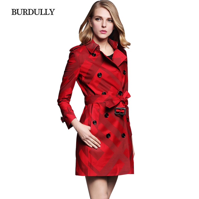 BURDULLY Female Plaid Trench Coats For Women New Fashion Belted Trench Coat Para As Mulheres 2017 Autumn Winter Abrigos De Mujer
