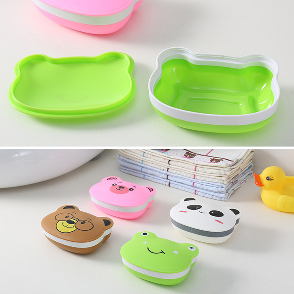 1 PC Bathroom Shower Travel Cartoon Animals Soap Creative Portable Travel Waterproof Soap Box Bathroom Storage & Organization