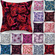 Hot sale fashion pillow case flowers  beauty roses cute square cases high definition pattern cover 45*45cm