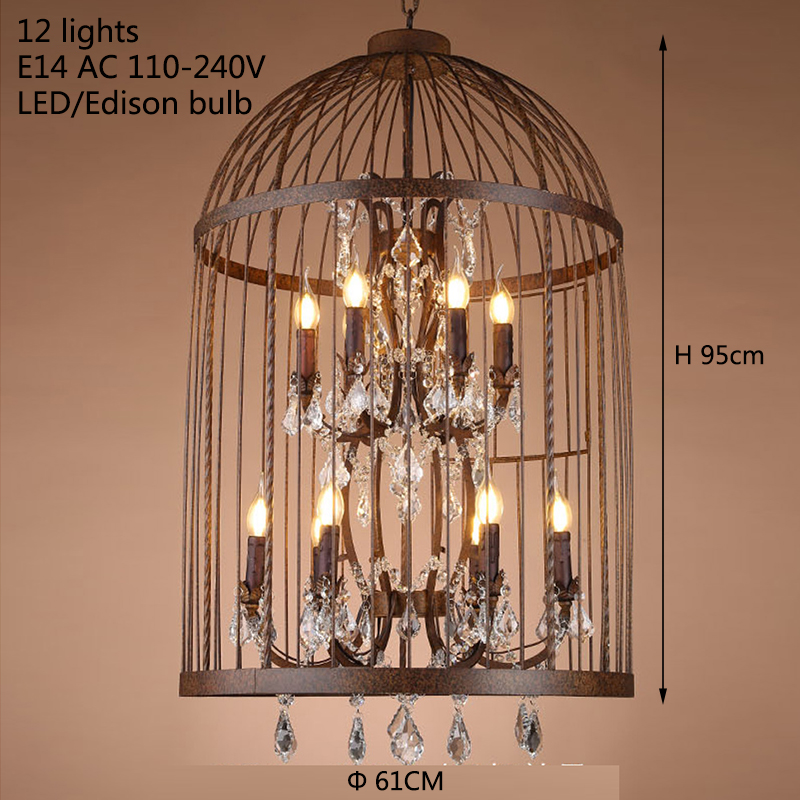 Retro Black Rust Iron Birdcage Style Chandeliers E14 Crystal Chandelier Modern Led Lighting For Living Room Kitchen In From Lights