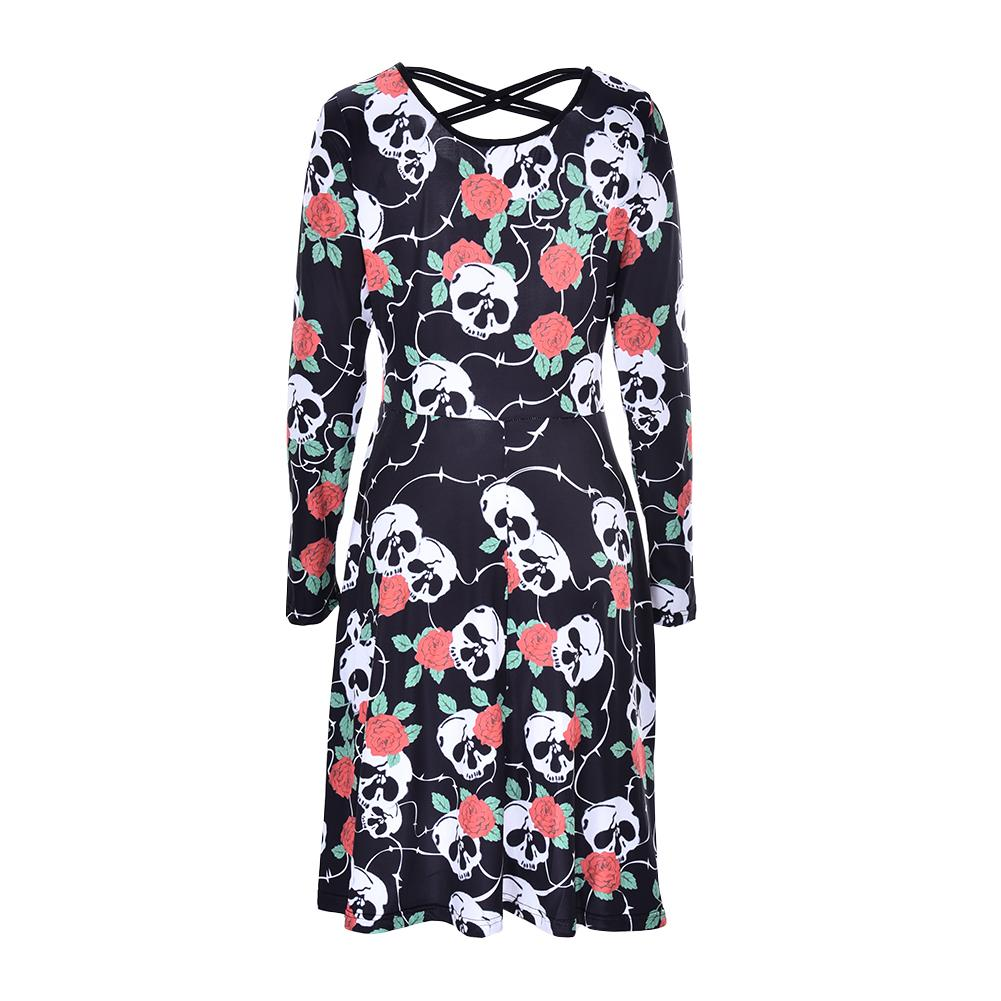 Summer dress elegant Vintage Ball Gown Skulls print 50s 60s rockabilly  pinup Evening Party large size Clothes womens 2018 d151f387e749