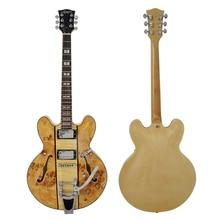 Semi Hollow Body Figured Maple Electric Jazz Guitar with free guitar strap guitar picks AJ336