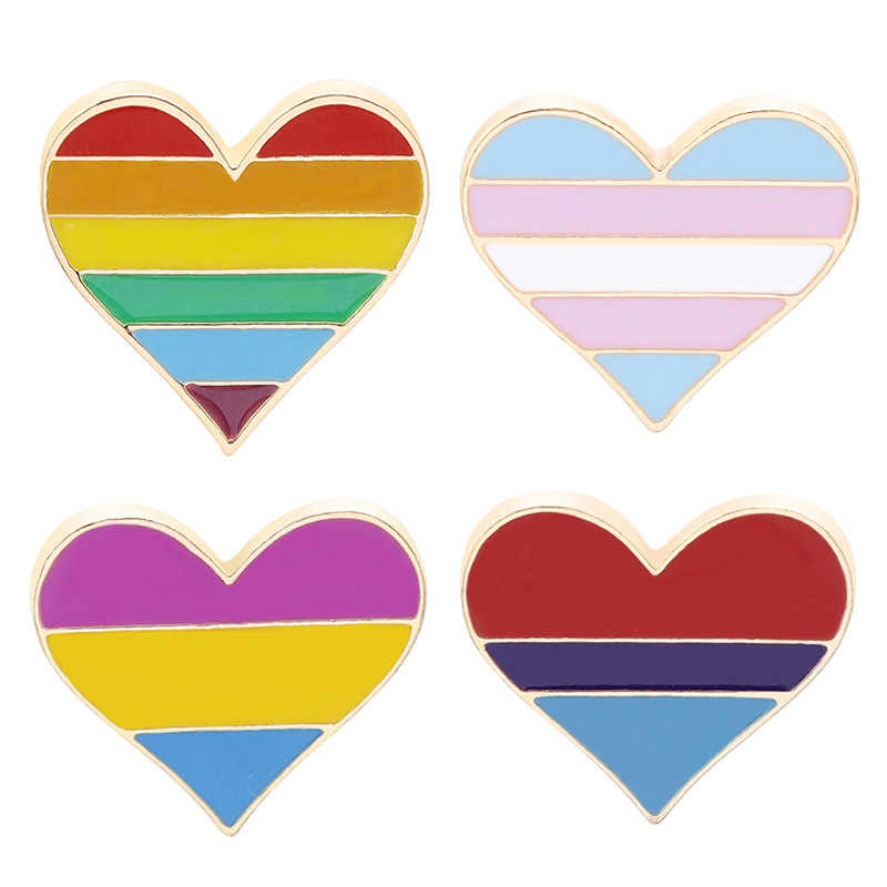 Pride Rainbow Flag Metal Badge Support Gay Lesbian Bisexual Transgender Symbol Pin LGBT Icons Rozet Heart Brooch