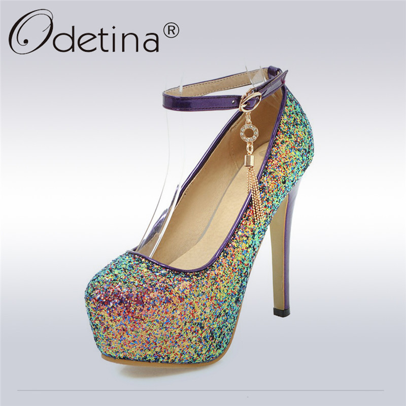 Odetina 2018 New Fashion Ankle Strap Pumps For Women Pointed Toe Platform Sexy Party Shoes Ladies Bling Extreme High Heel Pumps odetina 2017 new summer women ankle strap ballet flats buckle hollow out flat shoes pointed toe ladies comfortable casual shoes