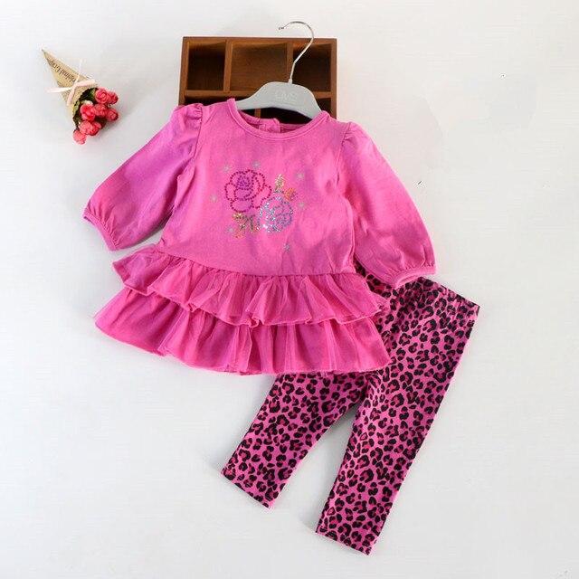 Babykleding Roze.Babykleding Set Hot Roze Luipaard Meisjes T Shirt Dress Broek 2