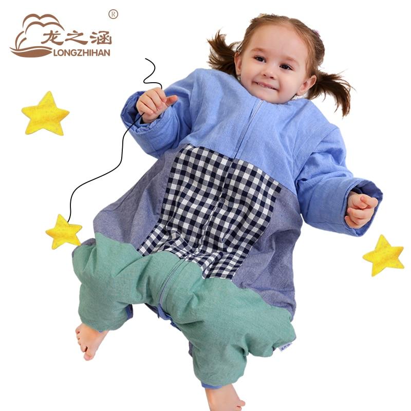 ФОТО Baby Sleeping Bag For Children 100%Cotton Spring Infant Sleep Sack Sleeves Sleepsacks Newborn SwaddleMe Prevention Kicking Quilt
