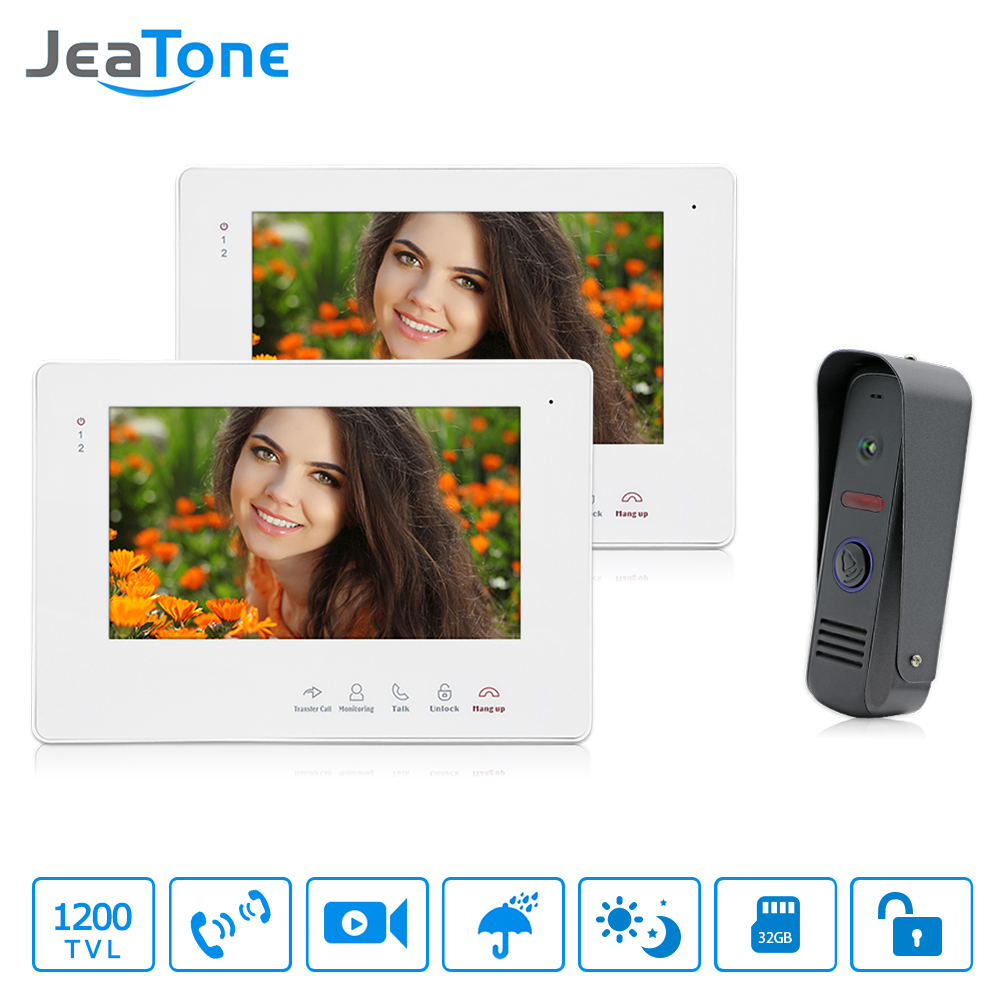 JeaTone 7 TFT LCD Color Video Door Phone Video Doorbell Intercom System IR Camera Night Vision for Villa Apartment Security kit tmezon 4 inch tft color monitor 1200tvl camera video door phone intercom security speaker system waterproof ir night vision 4v1