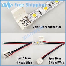 3pin  10mm connector for single color led strip ws2811 ws2812B two connectors easy connect no need soldering 15pcs/lot
