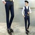 The new 2017 men's fashion brand of high-grade fine grid suit pants / Pure cotton Male gentleman slim suit pants / Men trousers