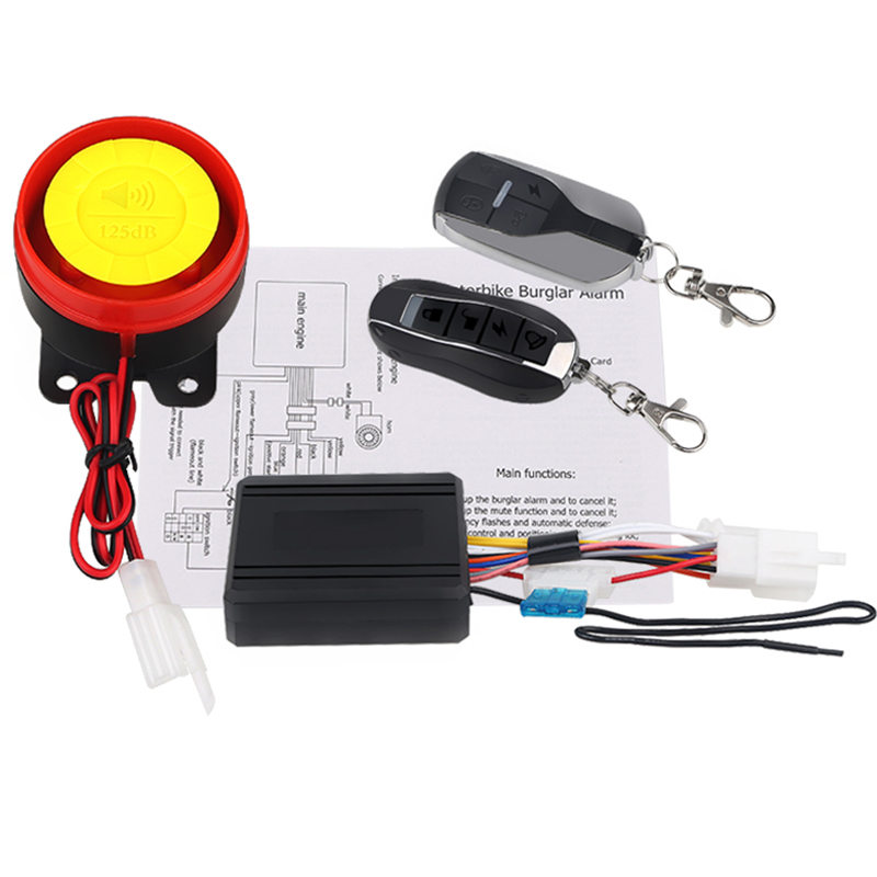 12V Motorcycle Scooter Alarm System Key Shell Remote Control 125db Motorcycle Anti-theft Security Alarm Protection System