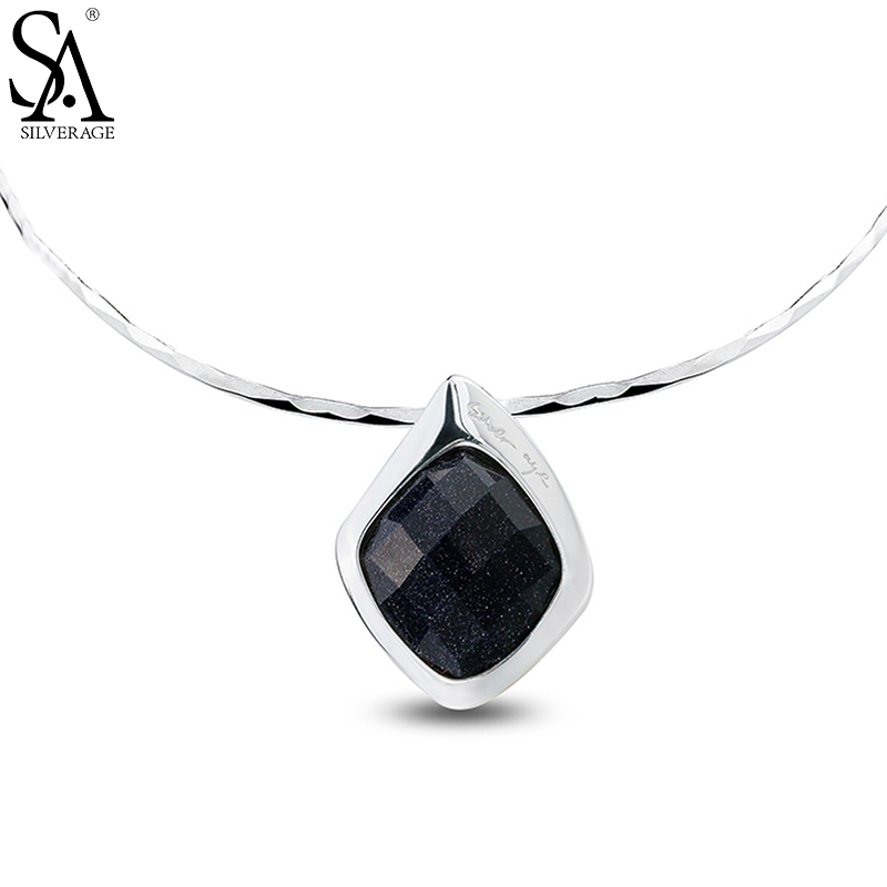 SA SILVERAGE Elegant Black Aventurine Necklaces 925 Sterling Silver Choker Necklace For Women Pendant Jewelry подушки classic by t подушка валерьяна 70х70