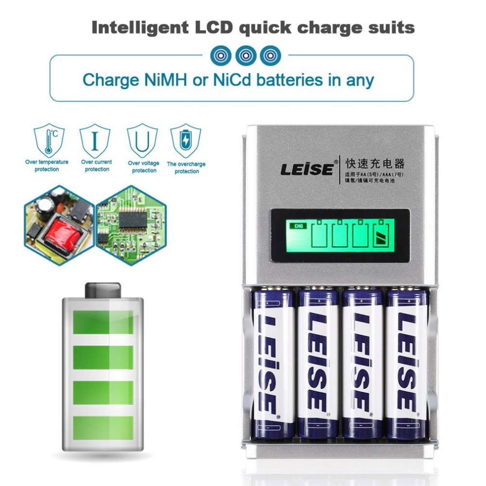 LEISE 4 Slots LCD Display Smart Intelligent Fast Quick Battery Charger Kit Rechargable B ...