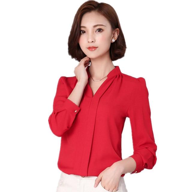 Женские блузы Шифоновая блузка Осень Blusa feminina Топы с длинным рукавом Мода сорочка роковой женщины рубашки плюс Размеры 2XL черный, белый цвет