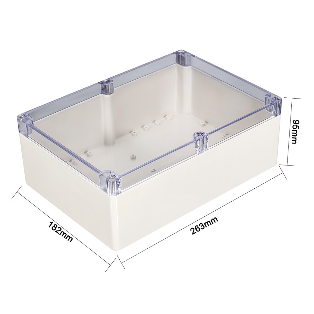 Uxcell New Hot 200x120x56mm Waterproof DIY Junction Box Enclosure Case ABS Plastic 263x182x95mm Outdoor Indoor With Clear Cover