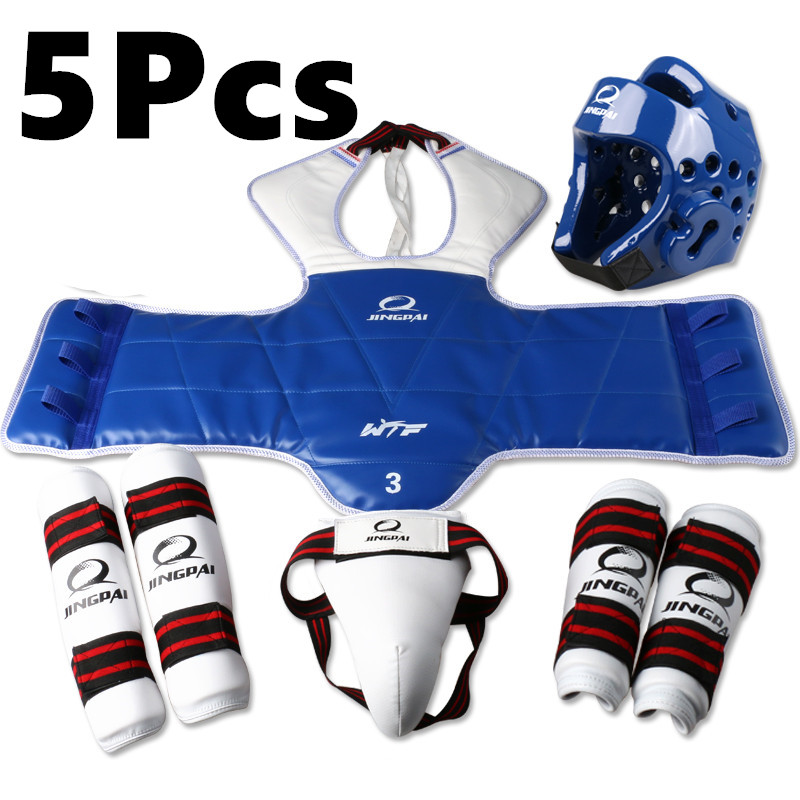 5pcs WTF approved Taekwondo protectors suite TKD Helmet chest shin arm guards Child karate headgear MMA kick body hugo Helmets new muay thai kick boxing training shield curve pads punch mma chest target taekwondo karate sanda chest protector target
