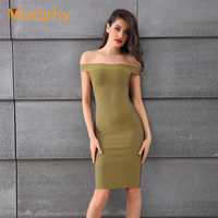 Women Off The Shoulder Knee Length Slash Neck Army Green Rayon Stretchy Bodycon Sexy Evening Party