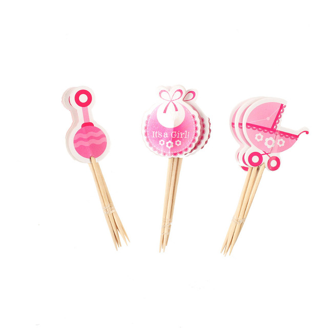 Lincaier 18 Pieces Cupcake Toppers Baby Shower Carriage Nipple BabyShower Favors Party Supplies Decorations Its a Boy Girl Blue
