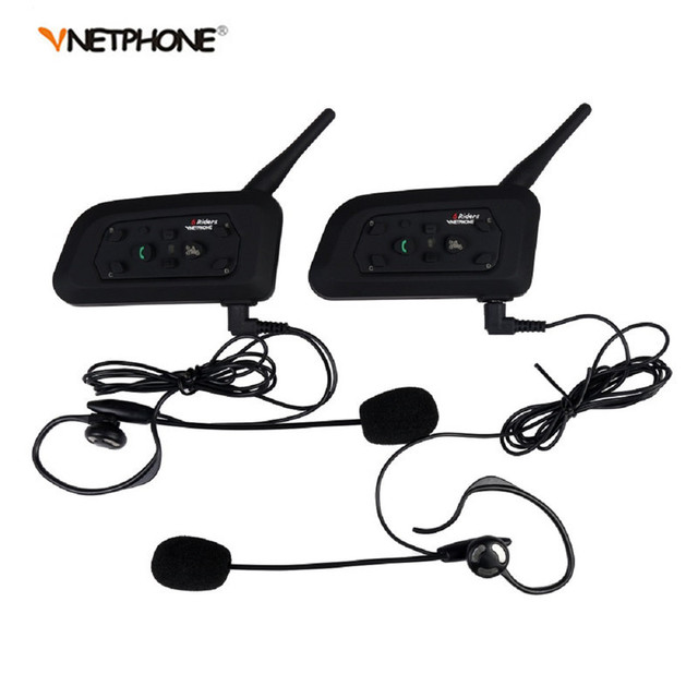Vnetphone 2PCS V6 1200M Intercom Full Duplex Two-way Football Referee Coach Judger Arbitration Earhook Earphone