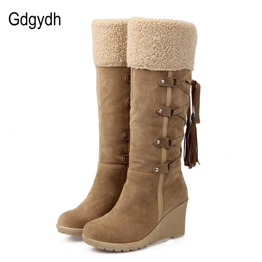 e80e4c36802 US $23.8 14% OFF|Gdgydh Fashion Scrub Plush Snow Boots Women Wedges Knee  high Slip resistant Boots Thermal Female Cotton padded Shoes Warm Winter-in  ...