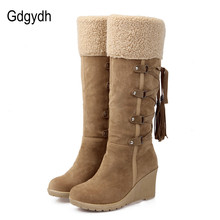 Gdgydh Fashion Scrub Plush Snow Boots Women Wedges Knee high Slip resistant Boots Thermal Female Cotton