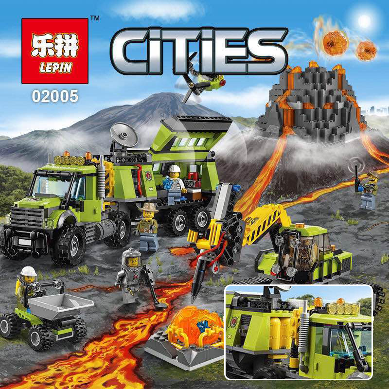 Lepin 02005 889Pcs New City Series The Volcano Exploration Base Set Children Educational Building Blocks Brick Toys Model 60124 lepin 02012 city deepwater exploration vessel 60095 building blocks policeman toys children compatible with lego gift kid sets