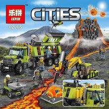 Lepin 889 Pcs Nouvelle Ville Série Le Volcan Base D'exploration Ensemble Enfants Blocs de Construction Brique Modèle Jouets Éducatifs Pour Enfants