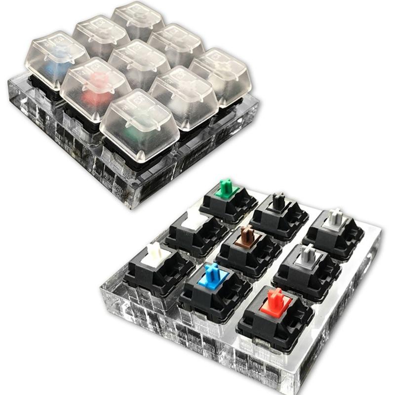 9 Cherry MX Switches Kit de probador de teclado claro Keycaps Sampler PCB Teclado mecánico translúcido Keycaps herramienta de prueba
