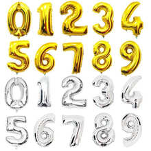 hot deal buy 32inch  large gold silver number foil balloons digit air ballons happy birthday wedding decor air rballoon event party supplies